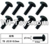 FeiYue FY-05 Spare Parts-60-12 W12074 Inner Hexagon T head Self-attack screws(8pcs)-2.6X8mm,FeiYue FY-05 RC Car Parts,FY05 FY-05 RC Truck Spare parts Accessories,1:12 4WD High Speed Buggy Parts