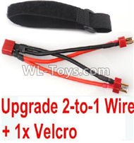 FeiYue FY-11 Spare Parts-45-06 Upgrade 2-to-1 wire and Velcro-Two battery can use together,Run 2x Time than usual,FY11 FY-11 RC Racing Car Truck Spare parts Accessories,1:12 4WD High Speed RC Buggy Parts