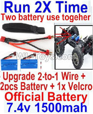 FeiYue FY-11 Spare Parts-45-07 Upgrade 2-to-1 wire and Velcro & 2pcs Battery-Two battery can Be used together,Run 2x Time than usual,FY11 FY-11 RC Racing Car Truck Spare parts Accessories,1:12 4WD High Speed RC Buggy Parts