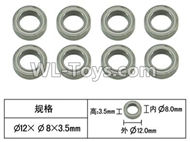 FeiYue FY-11 Spare Parts-56-11 XLF-1017 Bearing(8pcs)-12X8X3.5mm,FY11 FY-11 RC Racing Car Truck Spare parts Accessories,1:12 4WD High Speed RC Buggy Parts