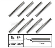 HG P601 Parts-Optical axis(8pcs) Parts-2.5x12mm-W01004,HG P601 RC Truck Parts 6x6 1/10 Parts