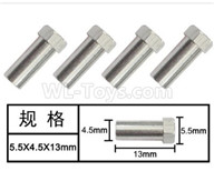 HG P601 Parts-Hexagon step copper sleeve (4pcs) Parts-5.5x4.5x13mm-W02012,HG P601 RC Truck Parts 6x6 1/10 Parts