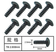 HG P601 Screw Parts-T head self tapping screw(8pcs) Parts-2.6x8mm-W05002,HG P601 RC Truck Parts 6x6 1/10 Parts