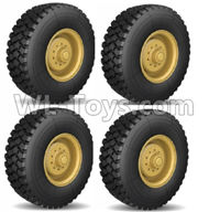 HG P801 P802 Parts-8ASS-115 US. Military truck Parts-Main Wheel assembly(4 Set)-R110 All Terrain tyers-Yellow or Green color,HG P801 P802 RC Truck Spare parts Accessories,HG P801 P802 1:12 RC Car Parts,U.S. Military Truck Parts