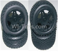 HBX Survivor MT Parts-Front and Rear Wheels Complete(4PCS)-(Include the Wheel hub and Tire lether) Parts-12056 12039,HaiBoXing urvivor MT 12811 12811B RC Car Parts