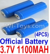 HaiBoXing HBX 12812 Parts-Battery Parts-Official 3.7V 1100mAH Battery(Li-ion Batteries)-4pcs, (This parts now has no produce ,you can buy the upgrade 1500mah battery ,and buy 12600BT Chassis,Bottom frame(For 1500mah) together)-12619A