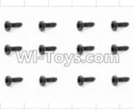 HBX 12881 VORTEX Parts-Screws Parts-Round Head Self Tapping Screw(12pcs)-2x6mm Parts-S093,HaiBoXing HBX 12881 VORTEX RC Car Parts