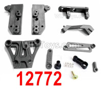 HBX 12895 Parts-Front Top Plate + Braces + Servo Saver + Servo Arm. 12772