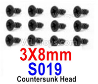 HBX 12895 Parts-Countersunk Head Screws, The size is 3x8mm, Countersunk Head Self Tapping Screws. Total 12pcs. S019