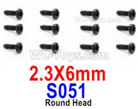 HBX 12895 Parts-Round Head Screws, The size is 2.3x6mm, Round Head Self Tapping Screws. Total 12pcs. S051