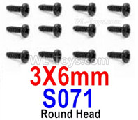 HBX 12895 Parts-Round Head Screws, The size is 3x6mm, Round Head Self Tapping Screws. Total 12pcs. S071