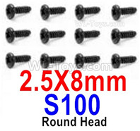 HBX 12895 Parts-Round Head Screws, The size is 3x15mm, Round Head Self Tapping Screws. Total 12pcs. S085
