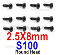 HBX 12895 Parts-Round Head Screws, The size is 2.5x8mm, Round Head Self Tapping Screws. Total 12pcs. S100