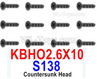 HBX 12895 Parts-Countersunk Head Screws, The size is KBHO 2.6x10mm, Countersunk Head Self Tapping Screws. Total 12pcs. S138