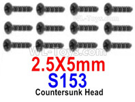 HBX 12895 Parts-Countersunk Head Screws, The size is 2.5x5mm, Countersunk Head Self Tapping Screws. Total 12pcs. S153