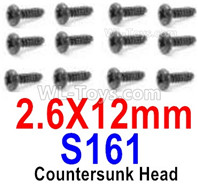 HBX 12895 Parts-Round Head Screws, The size is PBHO 2.6x12mm, Round Head Self Tapping Screws. Total 12pcs. S161