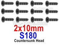 HBX 12895 Parts-Countersunk Head Screws, The size is 2x10mm, Countersunk Head Self Tapping Screws. Total 12pcs. S180
