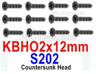 HBX 12895 Parts-Countersunk Head Screws, The size is KBHO 2x12mm, Countersunk Head Self Tapping Screws. Total 12pcs. S202