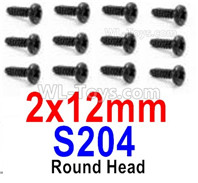 HBX 12895 Parts-Round Head Screws, The size is 2x12mm, Round Head Self Tapping Screws. Total 12pcs. S204