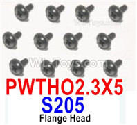 HBX 12895 Parts-Flange Head Screws, The size is PWTHO 2.3x5mm, Flange Head Self Tapping Screws. Total 12pcs. S205
