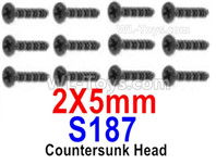 HBX 12895 Parts-Countersunk Head Screws, The size is KBHO 2x5mm, Countersunk Head Self Tapping Screws. Total 12pcs. S187