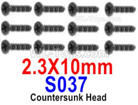 HBX 12895 Parts-Countersunk Head Screws, The size is KBHO 2.3x10mm, Countersunk Head Self Tapping Screws. Total 12pcs. S037