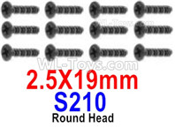 HBX 12895 Parts-Round Head Screws, The size is 2.5x19mm, Round Head Self Tapping Screws. Total 12pcs. S210