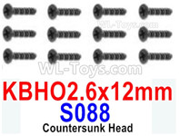 HBX 12895 Parts-Countersunk Head Screws, The size is KBHO 2.6x12mm, Countersunk Head Self Tapping Screws. Total 12pcs. S088