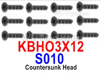HBX 12895 Parts-Countersunk Head Screws, The size is KBHO3x12mm, Countersunk Head Self Tapping Screws. Total 12pcs. S010