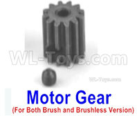 SG 1601 SG1601 Parts Motor Gear (14T)+Ser Screw-M16035, Both be suit for Brush and Brushless version, SG 1/16 Car Parts