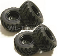 HBX Rampage 18859E Whole wheel unit(Include Wheel hub and Tire lether)-4 set Parts