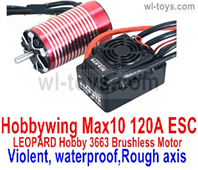 JLB Racing J3 Speed Parts-Hobbywing Max 10 120A ESC and LEOPARD Hobby 3663 Brushless Motor(Violent,waterproof,Rough axis),JLB J3 Speed Parts