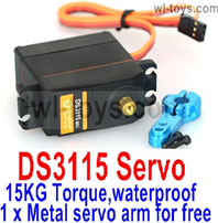 JLB Racing J3 Speed Parts-DS3115 Servo-15KG Torque(1 x Metal servo arm for free)-waterproof,JLB J3 Speed Parts