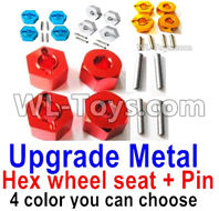 LC Racing EMB Parts-Upgrade Metal Hex wheel seat with pin-4 set-4 Color you can choose,LC Racing EMB 1/14 Parts,LC Racing EMB RC Car Parts