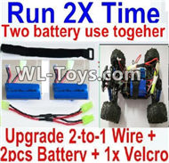 PXtoys 9302 Spare parts-32-03 Upgrade 2-to-1 wire and Velcro & 2pcs 1100mah Battery-Two battery can use together,Run 2x Time than usual,PXtoys 9302 RC Car Parts,PXtoys 9302 RC Truck Spare parts Accessories,1:18 4WD High Speed Buggy Parts