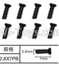 SuBotech BG1507 Car Parts-WLS007 Flat head screws(8pcs)-M2.6X7PB,Subotech BG1507 RC Car Spare parts Accessories,1:12 4WD BG1507 RC Racing Car parts,High Speed Drifting Buggy Parts