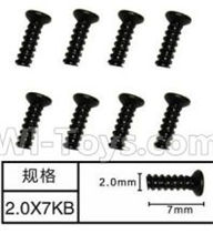 SuBotech BG1508 Parts-WLS002 Countersunk head screws(8pcs)-M2X7KB,Subotech BG1508 RC Car Spare parts Accessories,1:12 4WD BG1508 RC Racing Car parts,High Speed Drifting Buggy Parts