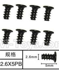 SuBotech BG1518 Car Parts-WLS006 Flat head screws(8pcs)-M2.6X5PB,Subotech BG1518 RC Car Spare parts Accessories,1:12 4WD BG1518 RC Racing Car parts,High Speed Drifting Buggy Parts