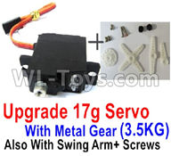 WPL B-24 B24 GAZ-66 Parts-17-02 Upgrade 17g Servo with Meat gear(3.5KG) Swing Arm and Screws,WPL B-24 B24 RC Car Parts,WPL GAZ-66 Parts,WPL B24 B-24 RC Military Truck Spare parts Accessories,WPL 4X4 1:16 Off-road Truck Parts