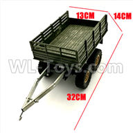 WPL B14 B-14 4X4 Truck Parts-22-01 Original self-loading 4 wheel trailer accessories-For DIY Parts-Green-32X13X14cm,WPL B14 B-14 RC Car Parts,WPL 4X4 Parts,WPL B14 B-14 RC Military Truck Spare parts Accessories,WPL 1:16 Off-road Truck Parts