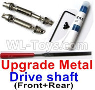 WPL B14 B-14 4X4 Truck Parts-31-03 Upgrade Front and Middle Metal Drive shaft(2pcs-Silver color)-with screws,wrench and Sickle,WPL B14 B-14 RC Car Parts,WPL 4X4 Parts,WPL B14 B-14 RC Military Truck Spare parts Accessories,WPL 1:16 Off-road Truck Parts