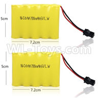 WPL C24 C-24 Spare Parts-14-02 Official 6V 700MAH Battery(2pcs)-7.2X5CM,WPL C24 C-24 RC Car Parts,WPL Parts,WPL C24 C-24 RC Military Truck Spare parts Accessories,WPL 4X4 1:16 Off-road Truck Parts