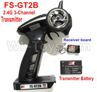 WPL C24 C-24 Spare Parts-16-02 FS-GT2B 2.4G 3-Channel Transmitter with Battery & Receiver board,WPL C24 C-24 RC Car Parts,WPL Parts,WPL C24 C-24 RC Military Truck Spare parts Accessories,WPL 4X4 1:16 Off-road Truck Parts