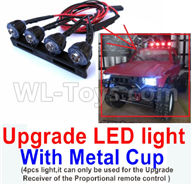 WPL C24 C-24 Spare Parts-16-09 Upgrade LED light With Metal Cup(4pcs light,it can only be used for the Upgrade Receiver of the Proportional remote control,WPL C24 C-24 RC Car Parts,WPL Parts,WPL C24 C-24 RC Military Truck Spare parts Accessories,WPL 4X4 1:16 Off-road Truck Parts