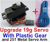 WPL C24 C-24 Spare Parts-17-03 Upgrade 3-wire 17g Servo & Upgrade 25T Metal Servo Arm,WPL C24 C-24 RC Car Parts,WPL Parts,WPL C24 C-24 RC Military Truck Spare parts Accessories,WPL 4X4 1:16 Off-road Truck Parts