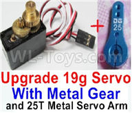 WPL C24 C-24 Spare Parts-17-04 Upgrade 17g Servo with Metal gear & Upgrade 25T Metal Servo Arm,WPL C24 C-24 RC Car Parts,WPL Parts,WPL C24 C-24 RC Military Truck Spare parts Accessories,WPL 4X4 1:16 Off-road Truck Parts