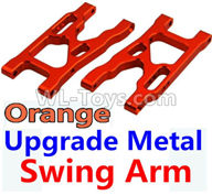 Wltoys 10428-2 Parts-K949-09 Upgrade Metal Swing Arm-Orange-2pcs,Wltoys 10428-2 Rc Car Parts,High speed 1:10 Scale 4wd,10428-B2 Electric Power On Road Drift Racing Truck Car Parts