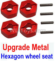 Wltoys 10428-2 Parts-K949-12 Upgrade Metal 12MM Hexagon wheel seat,Tire adapter(4pcs)-Red,Wltoys 10428-2 Rc Car Parts,High speed 1:10 Scale 4wd,10428-B2 Electric Power On Road Drift Racing Truck Car Parts
