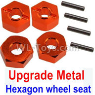 Wltoys 10428-2 Parts-K949-12 Upgrade Metal 12MM Hexagon wheel seat,Tire adapter(4pcs)-Orange,Wltoys 10428-2 Rc Car Parts,High speed 1:10 Scale 4wd,10428-B2 Electric Power On Road Drift Racing Truck Car Parts