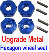 Wltoys 10428-2 Parts-K949-12 Upgrade Metal 12MM Hexagon wheel seat,Tire adapter(4pcs)-Dark Blue,Wltoys 10428-2 Rc Car Parts,High speed 1:10 Scale 4wd,10428-B2 Electric Power On Road Drift Racing Truck Car Parts